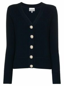 GANNI crystal button-embellished cardigan - Blue