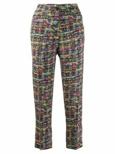 Etro tweed print cropped trousers - Blue