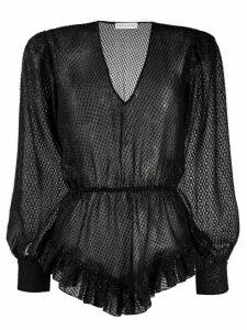 Silvia Astore sheer ruffle hem blouse - Black