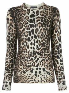 Samantha Sung Womens Knit leopard camel pullover - NEUTRALS