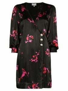 GANNI floral printed mini dress - Black