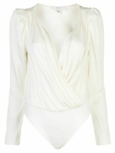 Milly long-sleeve wrap bodysuit top - White