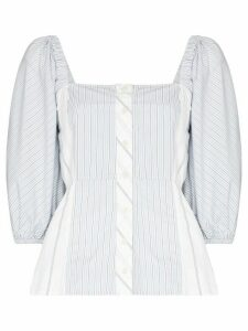 GANNI square-neck striped blouse - Blue