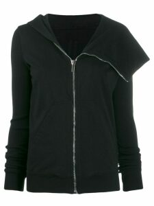 Rick Owens DRKSHDW asymmetric zip-through hooded cardigan - Black