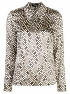 Theory Tile-print point-collar top - White