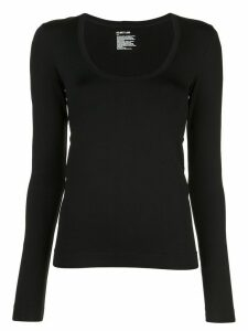 Helmut Lang scoop-neck long-sleeved top - Black