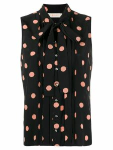 Tory Burch sleeveless polka dot blouse - Black