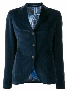 Tagliatore ribbed single breasted blazer - Blue