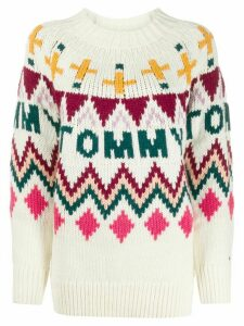 Tommy Jeans intarsia logo jumper - White