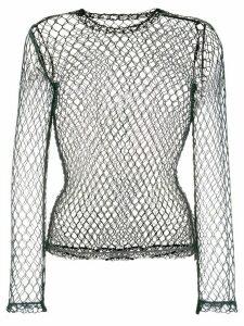 Comme Des Garçons fishnet long sleeved top - Black
