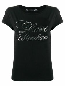 Love Moschino rhinestone logo T-shirt - Black