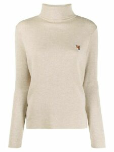 Maison Kitsuné roll neck embroidered jumper - NEUTRALS