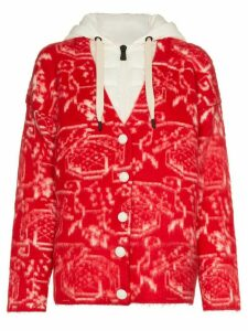 Moncler Grenoble Jacquard-Knit Cardigan - Red