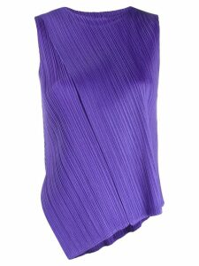 Pleats Please Issey Miyake micro-pleated asymmetric top - PURPLE