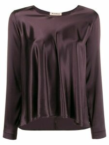 Blanca Vita flared satin top - PURPLE