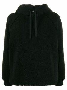 YMC shearling drawstring hoodie - Black