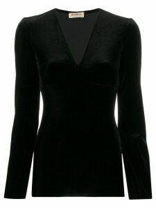 Blanca Vita V-neck velvet top - Black