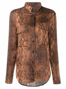 Andamane snakeskin print long sleeve blouse - Brown