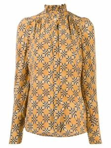 Isabel Marant patterned high-neck blouse - ORANGE