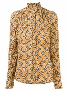 Isabel Marant patterned high-neck blouse - ORANGE