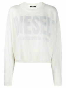 Diesel intarsia logo cropped jumper - White