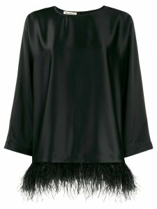 Blanca Vita feather-hem satin top - Black