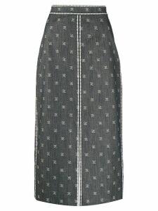 Fendi Karligraphy motif pencil skirt - Blue