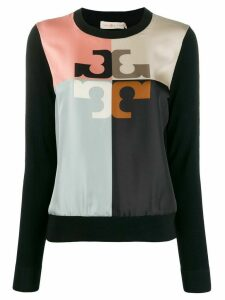 Tory Burch colour block logo jumper - Black
