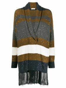 Brunello Cucinelli striped sequin-embellished cardigan - Brown