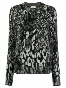 Saint Laurent leopard jacquard-knit jumper - Black