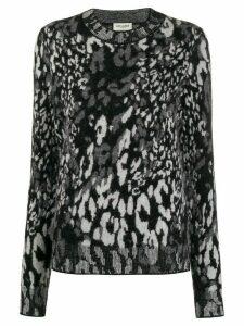 Saint Laurent leopard jacquard-knit jumper - Black
