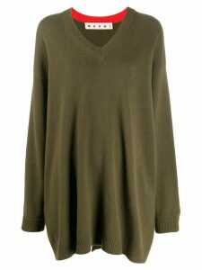 Marni oversized V-neck jumper - Green