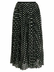 RedValentino embroidered floral tulle skirt - Black