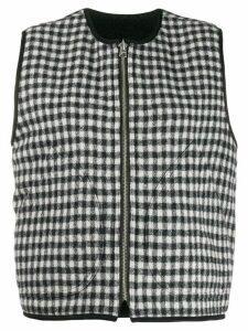 YMC checked cropped waistcoat - Black
