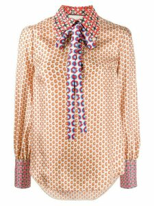 Gucci silk G print shirt - NEUTRALS
