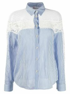 RedValentino lace panels striped shirt - Blue