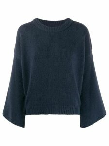 Fine Edge fluted sleeve crewneck sweater - Blue