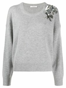 Dorothee Schumacher embellished long-sleeve jumper - Grey