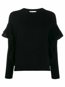 RedValentino knitted ruffle-trimmed jumper - Black