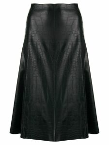 Blanca Vita crocodile-effect A-line skirt - Black