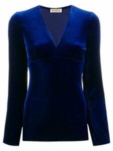 Blanca Vita V-neck velvet top - Blue
