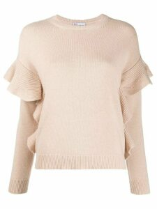 Red Valentino knitted ruffle-trimmed jumper - PINK