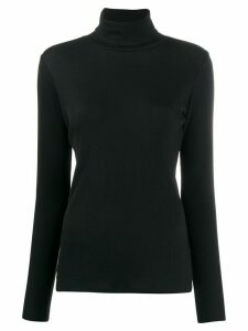 Sunspel ribbed roll neck jumper - Black