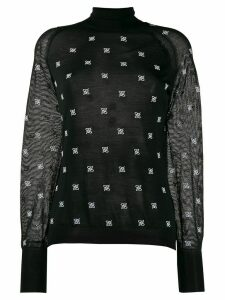 Fendi embroidered Karligraphy motif jumper - Black
