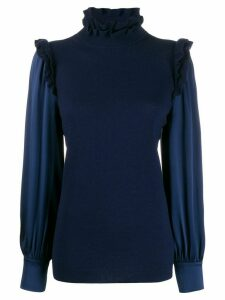 Teija frill-trim long sleeve jumper - Blue
