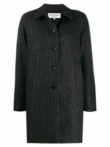 YMC striped single breasted coat - Black