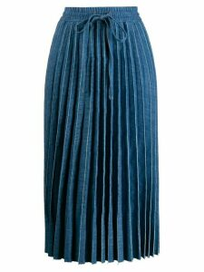RedValentino drawstring pleated midi skirt - Blue