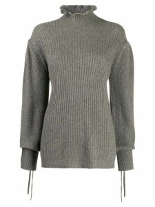 Teija Neule frilled-neck jumper - Grey
