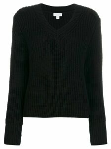 Sunspel ribbed v-neck jumper - Black