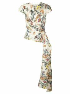 Oscar de la Renta floral fil coupe blouse - White